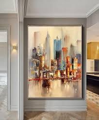 <b>Large Original Abstract</b> City Painting, Urban <b>Art</b> Painting, City ...