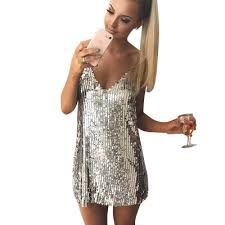 Deep V Neck Mini Dresses Silver Sequined Sleeveless Sexy ...