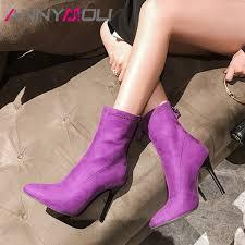 <b>ANNYMOLI Women Boots Autumn</b> Ankle Boots Zipper Thin Heels ...