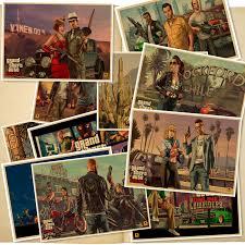 New Grand Theft Auto V retro kraft paper Print <b>vintage</b> Poster <b>Game</b> ...