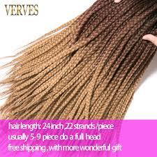 VERVES Crochet braids 24 inch box braid <b>Ombre Synthetic</b> Braiding ...