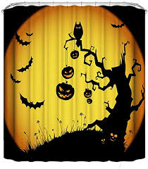 HY-MS <b>Halloween</b> Shower Curtain, <b>Halloween Pumpkin</b> Bat <b>Tree</b> ...