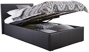 Home Source Contemporary End Gas Lift Ottoman <b>Black Faux</b> ...