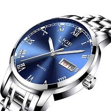 <b>LIGE Mens Watches</b> Waterproof Stainless Steel Simple Design ...