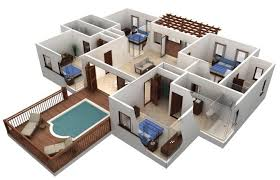 home design plans 3d decoration astonishing 3d floor plan huge home pland with patio exterior astonishing 3d floor plan