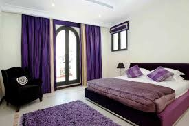 bold purple curtains for glass door queen sized bed furniture with white bedding and purple bedcover ceramic purple black white