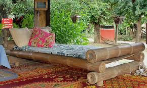 single strong bamboo bed in garden shelter bamboo furniture designs