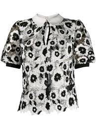 Self-Portrait <b>lace embroidered</b> top $284 - Buy Online <b>AW19</b> - Quick ...