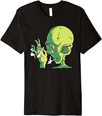 Alien Smoking Weed Cannabis Marijuana Funny T ... - Amazon.com