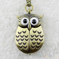 <b>Vintage</b> Bronze <b>Retro</b> Slide Smart Owl Pocket Pendant Long ...