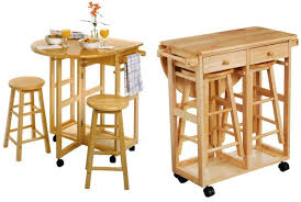 kitchen space savers saver table chairs  drop leaf table with  round stools