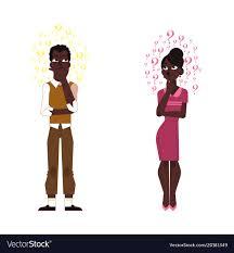 Flat adult <b>african black</b> man <b>woman thinking</b> Vector Image