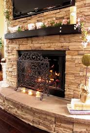 Natural Stacked Stone Fireplace Surround Ideas : Home Fireplaces ...
