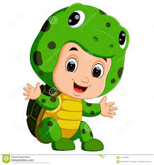 <b>Cute Kids</b> Cartoon Wearing <b>Turtle Costume</b> Stock Vector ...