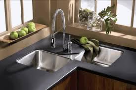 undermount kitchen sink stainless steel:  beautiful kitchen sink design ideas grey metal double bowl undermount kitchen sink black metal chrome kitchen