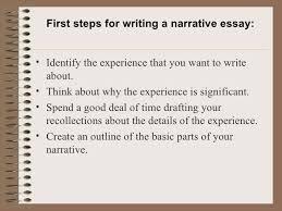 a narrative essay   first steps for writing a narrative essay