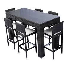 wicker bar height dining table: source outdoor bar height patio dining set seats  patio dining sets at hayneedle