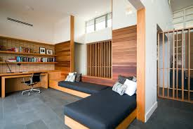 palm beach house contemporary home office idea in sydney with white walls built in study furniture