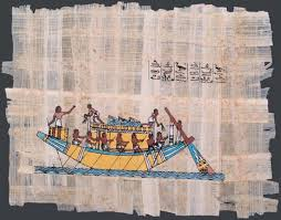 Photograph A papyrus painting from ancient Egypt shows a boat traveling on the Nile River