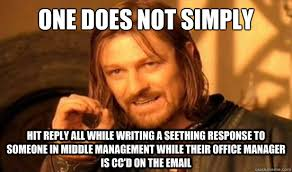 One Does Not Simply Hit reply all while writing a seething ... via Relatably.com