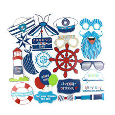 <b>21pcs Nautical Photo Booth</b> Props Baby Boy First Birthday Party ...