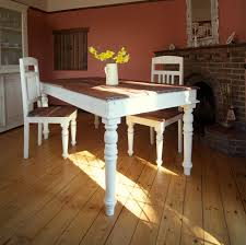 long wood dining table: furniture rustic old long trestle dining table painted with white chalk paint color made from reclaimed