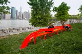 Image result for brooklyn bridge new york red bench