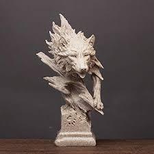 QWERTOUY Resin <b>Wolf</b> Statue <b>Creative Wolf</b> Head <b>abstract</b> ...