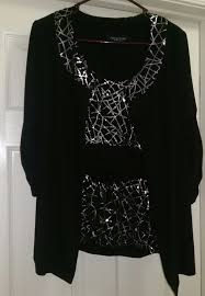 Perceptions New York Woman's Black w/ Silver Sequins Top and ...