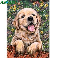 <b>AZQSD Diamond</b> Painting Cross Stitch <b>Dog</b> Flower 5D DIY <b>Diamond</b> ...