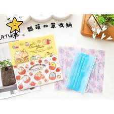 Cartoon <b>cute mask</b> storage clip foldable portable <b>storage bag</b> ...