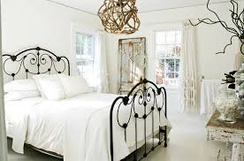 classic white bedroom with lovely bed and unique hanging lamp ideas along with rustic table and captivating white bedroom