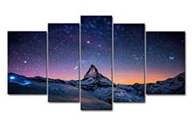 Fresh Look Color 5 Piece Wall Art Painting Starry ... - Amazon.com