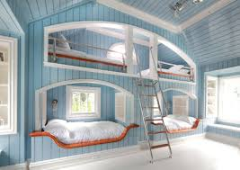 cool beds ideas amazing level bed for 4 with stairs added blue wooden wall and ceiling color as decorate bedroom design ideas cool interior