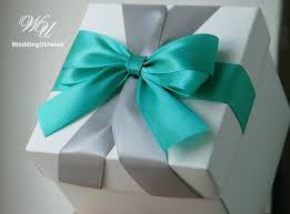 Mint and Silver Elegant favors gift box with <b>two color satin ribbons</b> ...