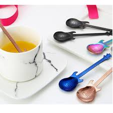 Guitar Coffee Spoon Set <b>Stainless Steel Dessert Ice</b> Cream Spoon ...