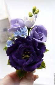 <b>Зажим для волос с</b> цветами в лилово-сиреневой гамме ...