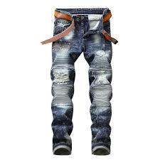 2019 Vintage Blue Skinny Hole <b>Fake</b> Zipper <b>SPliced Jeans</b> Men ...