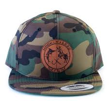 <b>Army camo</b> classic Flex fit flat bill snap back cap with branded leathe ...