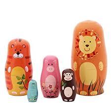 jollylife <b>5pcs</b> Nesting Doll Handmade Wooden <b>Cute Cartoon</b>