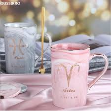 OUSSIRRO Natural Marble 12 Constellation <b>Ceramic Pink</b> Zodiac ...