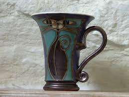 decor handmade vintage ceramic turquoise coffee mug handmade cat mug ceramic mug clay mug pottery mug hand thro