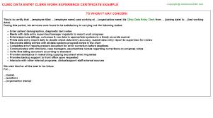 entry work experience certificates   clinic data entry clerk