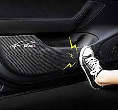 Model 3 <b>Car</b> Inner <b>Door</b> Anti-Kick Mat Carbon Fiber <b>Leather</b> ...