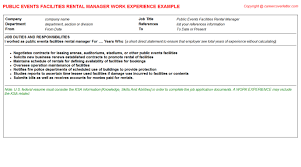 hostess cv work experience   public events facilities rental manager