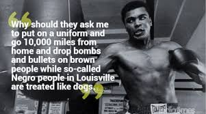 「On April 28, 1967, boxing champ Muhammad Ali refuses to join the US Army, saying, 'I ain't got no quarrel with those Vietcong.'」の画像検索結果
