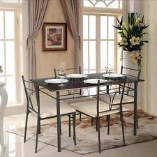 4 chair kitchen table:  piece dining table set metal kitchen table amp  chairs modern furniture ikayaa