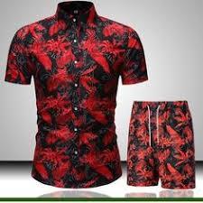 Gergeos 2PCS <b>Men</b> Short Sleeve Shirts Shorts Suit <b>Summer Casual</b> ...