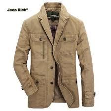 Jeep Rich® <b>Mens</b> Outdoor <b>Jacket Turndown</b> Collar Solid Color ...