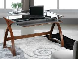 awesome furniture cool computer desks design with brown wooden varnished table legs fitted black glass pedestal awesome computer desk home